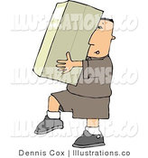 Royalty Free Stock Illustration of a Delivery Man in Brown Carrying a Big Package/Box by Djart