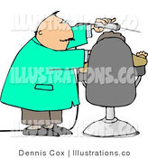 Royalty Free Stock Illustration of a Dentist Using Big Power Drill on Patient's Teeth by Djart