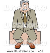 Royalty Free Stock Illustration of a Depressed Sad Businessman Sitting Alone on a Bench by Andy Nortnik