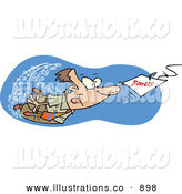 Royalty Free Stock Illustration of a Determined Caucasian Man Swimming After a Hooked Bonus Underwater by Toonaday