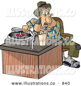 Royalty Free Stock Illustration of a Disc Jockey (DJ) Putting a Record on a the Player over White by Djart