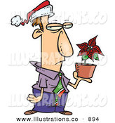 Royalty Free Stock Illustration of a Disgruntled Festive Employee in a Santa Hat, Holding a Poinsettia Plant As a Christmas Bonus by Toonaday