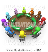 Royalty Free Stock Illustration of a Diverse and Colorful Group of Men Seated and Holding a Meeting About Running an Environmentally Friendly Company Around a Round Conference Table by 3poD