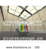 Royalty Free Stock Illustration of a Diverse Group of People in a Television Screen in a Futuristic Room by 3poD