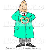 Royalty Free Stock Illustration of a Doctor Man Hand Gesturing a Heart Symbol by Djart