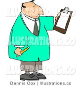 Royalty Free Stock Illustration of a Doctor Man Reading Checklist on Clipboard and Holding a Pencil by Djart