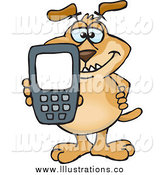 Royalty Free Stock Illustration of a Dog Holding out a Calculator or Cell Phone by Dennis Holmes Designs