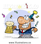 Royalty Free Stock Illustration of a Drunk New Years Party Man with Beer by Hit Toon