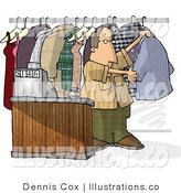 Royalty Free Stock Illustration of a Dry Cleaner Man Standing Beside Clothing and Cash Register by Djart