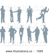 Royalty Free Stock Illustration of a Emotional Collection of Business People Silhouetted in Different Poses by AtStockIllustration