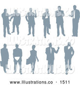 Royalty Free Stock Illustration of a Emotional Collection of Businessmen and Businesswomen Silhouetted in Poses by AtStockIllustration