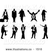 Royalty Free Stock Illustration of a Emotional Collection of Businesspeople in Silhouette, in Different Poses by AtStockIllustration
