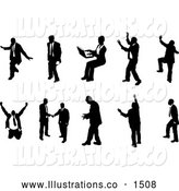 Royalty Free Stock Illustration of a Emotional Collection of Poses of Silhouetted Business People by AtStockIllustration