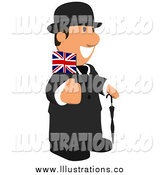 Royalty Free Stock Illustration of a English Business Toon Guy Holding a Flag by Julos