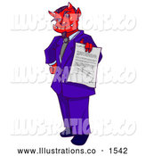Royalty Free Stock Illustration of a Evil Devil Boss Man in a Purple Suit, Holding out a Contract for an Employee to Sign Away Their Soul by Tonis Pan