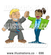 Royalty Free Stock Illustration of a Excited Businessman Giving a Professional Businesswoman a High Five by AtStockIllustration
