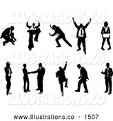 Royalty Free Stock Illustration of a Excited Collection of Business Concepts Showing Silhouetted Businesspeople in Different Poses by AtStockIllustration