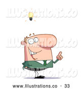 November 13th, 2013: Royalty Free Stock Illustration of a Excited Creative Thinking Businessman in a Green Suit and a Lighbulb over His Head by Hit Toon
