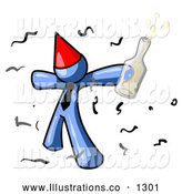 Royalty Free Stock Illustration of a Excited Happy Blue Man Partying with a Party Hat, Confetti and a Bottle of Liquor by Leo Blanchette