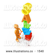 Royalty Free Stock Illustration of a Excited Orange Person Pushing a Shopping Cart with the Colorful Word SALES in the Cart, Getting Great Deals During a Store Promotion by 3poD