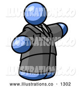 Royalty Free Stock Illustration of a Expressionless Blue Business Man in a Suit and Tie by Leo Blanchette