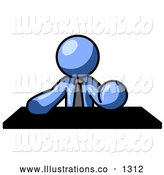 Royalty Free Stock Illustration of a Expressionless Blue Businessman Seated at a Desk During a Meeting by Leo Blanchette