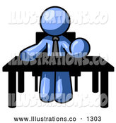 Royalty Free Stock Illustration of a Expressionless Blue Businessman Seated at a Desk, Instructing Employees by Leo Blanchette