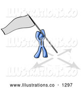 Royalty Free Stock Illustration of a Expressionless Blue Man Claiming Territory or Capturing the Flag by Leo Blanchette