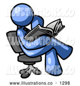 Royalty Free Stock Illustration of a Expressionless Blue Man Sitting Cross Legged in a Chair and Reading a Book by Leo Blanchette