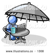 Royalty Free Stock Illustration of a Expressionless Traveling Blue Business Man Sitting Under an Umbrella at a Table Using a Laptop Computer by Leo Blanchette