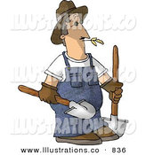 Royalty Free Stock Illustration of a Farmer Man Carrying Two Rounded Tip Shovels on White by Djart
