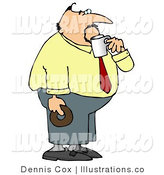 Royalty Free Stock Illustration of a Fat Businessman on His Coffee & Donut Break by Djart