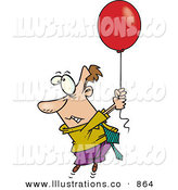 Royalty Free Stock Illustration of a Fearful White Business Man Getting Carried Away by a Red Balloon by Toonaday