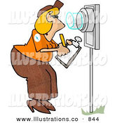 Royalty Free Stock Illustration of a Female Electric Meter Reader Writing down Electricity Usage by Djart