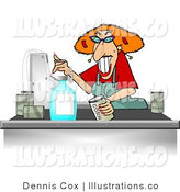 Royalty Free Stock Illustration of a Female Grocery Store Checkout Clerk Ringing up Food Items in Her Cash Register by Djart