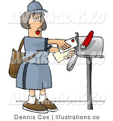 Royalty Free Stock Illustration of a Female Mail Carrier Delivering Envelopes into a Mailbox by Djart