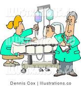 Royalty Free Stock Illustration of a Female Nurse and Doctor Caring for a Hospitalized Man Attached to an IV Fluid Drip Line by Djart