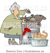 Royalty Free Stock Illustration of a Female Pet Groomer Cutting and Trimming a Dog's Belly Hair by Djart