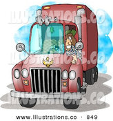 Royalty Free Stock Illustration of a Female Trucker Driving an 18-Wheeler Big Rig Truck Forward by Djart