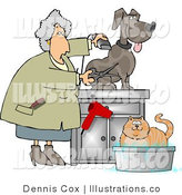 Royalty Free Stock Illustration of a Female Veterinarian Grooming a Dog and Bathing a Cat by Djart
