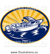 Royalty Free Stock Illustration of a Fishing Man and Boat by Patrimonio