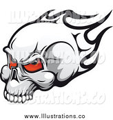 Royalty Free Stock Illustration of a Flaming Skull with Demonic Red Eyes by Vector Tradition SM