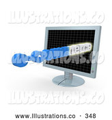 Royalty Free Stock Illustration of a Flat Screen Computer Monitor with E Commerce Text Appearing by 3poD