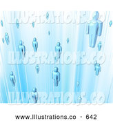 Royalty Free Stock Illustration of a Floating Group of Blue People in a Computer Network by AtStockIllustration