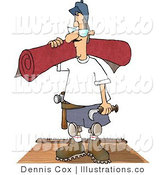Royalty Free Stock Illustration of a Floor Man Installing New Red Carpet in a House by Djart