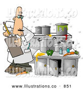 Royalty Free Stock Illustration of a Food Health Inspector Inspecting a Dirty Kitchen at a Restaurant on White by Djart