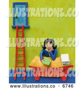 Royalty Free Stock Illustration of a Friendly 3d Businesswoman Sitting at Her Desk by a Corporate Ladder by Amy Vangsgard