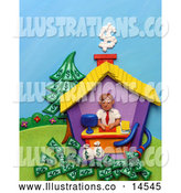 Royalty Free Stock Illustration of a Friendly 3d Man Working in His Home Office by Amy Vangsgard