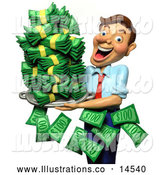 Royalty Free Stock Illustration of a Friendly 3d Successful Businessman Holding a Tray of Cash Money by Amy Vangsgard
