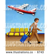 Royalty Free Stock Illustration of a Friendly 3d Traveling Businessman Walking in an Airport by Amy Vangsgard